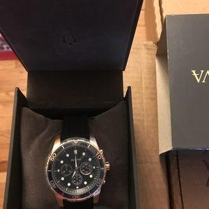 Bulova Men's Chronogra Silicone Strap Watch 43mm